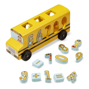 Melissa & Doug leather bus with numbers 19 pieces
