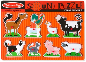 Melissa & Doug shape puzzle with sound farm animals 8 pieces