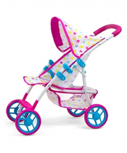 Milly Mally poppenwagen Natalie Candy 54 cm roze/blauw