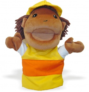 Miniland hand Puppispuppet junior 24 cm brown/yellow
