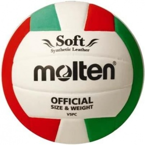 Molten trainingsvolleybal V5PC Soft wit/rood/groen maat 5