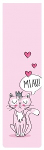 Moses bookmark with elastic cat in love 17,5 x 4,7 cm pink