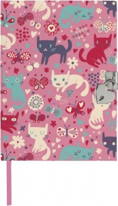 Moses diary with lock Cats 21 x 15 cm pink