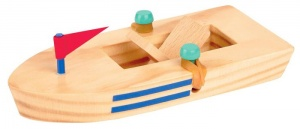 Moses wooden boat 15,5 cm blank with red flag