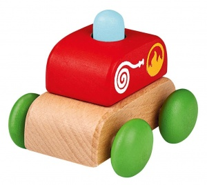 Moses wooden fire truck with sound 6 cm red