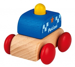 Moses wooden police car with sound 6 cm blue