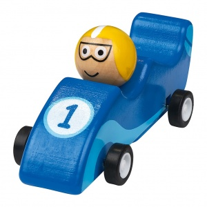 Moses wooden racing car 11.5 cm blue