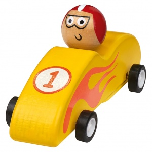 Moses wooden racing car 11.5 cm yellow