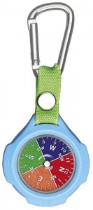Moses compass with carabiner 9,5 cm blue