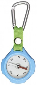 Moses compass with carabiner 9,5 cm blue/beige