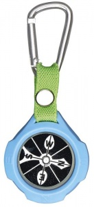 Moses compass with carabiner 9,5 cm blue/black