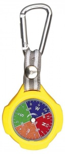 Moses compass with carabiner 9,5 cm yellow