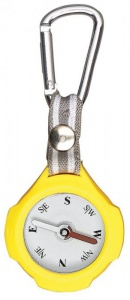 Moses compass with carabiner 9,5 cm yellow/beige