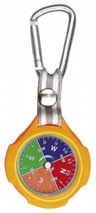 Moses compass with carabiner 9,5 cm orange