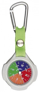 Moses compass with carabiner 9,5 cm grey