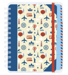 Moses travel diary 18.5 x 14 cm blue / white