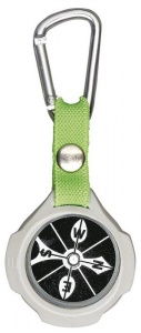 Moses compass with carabiner 9,5 cm grey/black