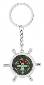 Moses key ring with compass Pirate 5 cm silver/black