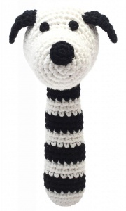 natureZOO rattle dog crocheted 14 cm black/white