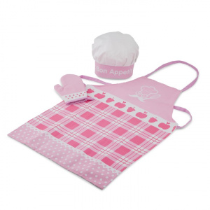 New Classic Toys kookschort set junior 28 cm textiel roze 3-delig