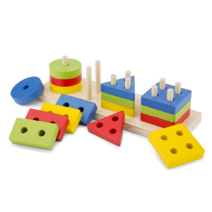 New Classic Toys stacking puzzle geometric shapes wood