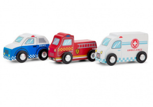 New Classic Toys voertuigen set junior hout rood/wit/blauw 3-delig