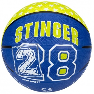 New Port Mini Basketbal Met Print Blauw/Fluorgeel Maat 3