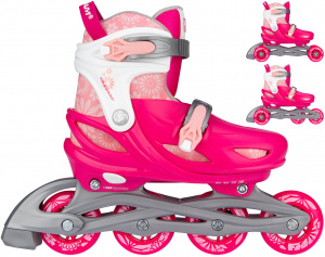 Nijdam 3-in-1 skates Floral Switch polyester roze/wit