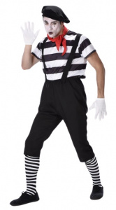 Partychimp costume Mime men's polyester black/white