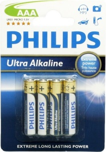 Philips piles alcalines AAA/LR03 Ultra alcalines 4 pièces