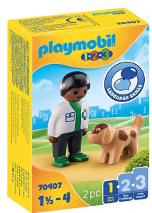 PLAYMOBIL 1,2,3 - Veterinarian with dog (70407)