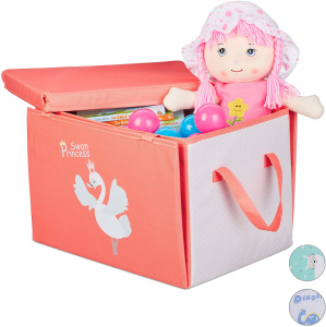 Relaxdays storage box/playcloth Swan 41 cm polyester pink