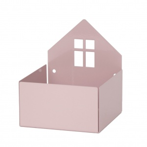 Roommate opbergbox huis 13 x 11 cm staal roze