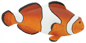 Safari speeldier clownvis 12 cm wit/oranje