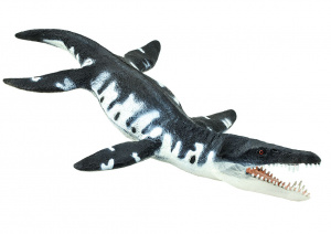 Safari zeereptiel Liopleurodon junior 18 cm rubber zwart/wit