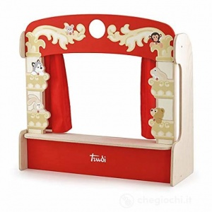 Sevi wooden table puppet theatre 58 cm red