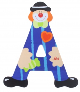 Sevi letter A clown junior 10 cm wood blue