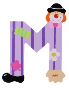 Sevi letter M clown 10 cm purple