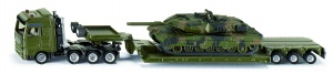Siku Man low loader with Leopard II A6 combat tank dark green (1872)