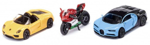 Siku gift set sports cars and motorcycle 17 cm steel 3-piece (6313)