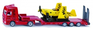 Siku Truck with low loader and stunt plane red / yellow (1866)
