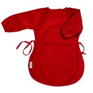 Silly Billyz bib with sleeves Messy Eater 12-36 months red