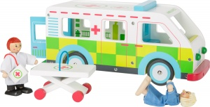 Small Foot ambulance speelset hout wit/groen 32 cm 5-delig