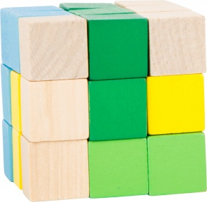 Small Foot construction cube blue/green/yellow/white 4.5 cm