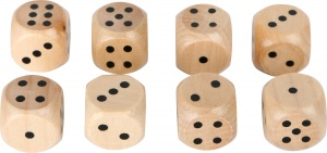 Small Foot dice wood 1.5 cm 8 pieces