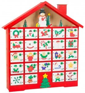 Small Foot kerstkalender hout rood 39 cm
