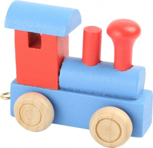 Small Foot locomotief hout rood/blauw 7 x 3 x 5,5 cm