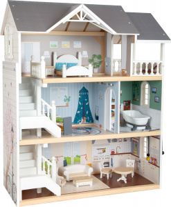 Small Foot doll's house with furnishing 63 x 32 cm wood white