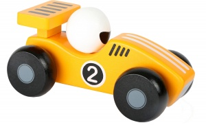 Small Foot raceauto hout geel/wit 13 x 6 cm