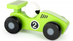 Small Foot raceauto hout groen/wit 13 x 6 cm